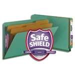 Smead 29785 Green End Tab Pressboard Classification Folder with SafeSHIELD Fasteners, 2 Dividers, 2