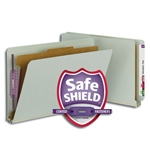 Smead 29800 Gray/Green End Tab Pressboard Classification Folder with SafeSHIELD Fasteners, 1 Divider, 2
