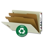 Smead 29802 Gray/Green 100% Recycled End Tab Classification Folder, 2 Dividers, 2