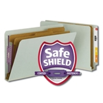 Smead 29810 Gray/Green End Tab Pressboard Classification Folder with SafeSHIELD Fasteners, 2 Dividers, 2