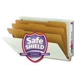 Smead 29820 Gray/Green End Tab Pressboard Classification Folder with SafeSHIELD Fasteners, 3 Dividers, 3