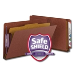 Smead 29855 Red End Tab Pressboard Classification Folder with SafeSHIELD Fasteners, 1 Divider, 2