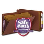 Smead 29865 Red End Tab Pressboard Classification Folder with SafeSHIELD Fasteners, 3 Dividers, 3