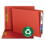 Smead 34171 Red 100% Recycled End Tab Fastener File Folder, Shelf-Master Reinforced Straight-Cut Tab, 2 Fasteners, Letter