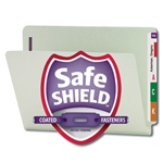 Smead 34705 Gray/Green End Tab Pressboard Fastener File Folder with SafeSHIELD Fastener, 2 Fasteners, 1