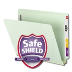 Smead 34715 Gray/Green End Tab Pressboard Fastener File Folder with SafeSHIELD Fastener, 2 Fasteners, 2
