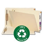 Smead 37160 Manila End Tab 100% Recycled Fastener Folder, Shelf-Master Reinforced Straight-Cut Tab, 2 Fasteners, Legal