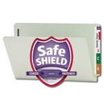 Smead 37705 Gray/Green End Tab Pressboard Fastener File Folder with SafeSHIELD Fasteners, 2 Fasteners, 1