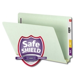 Smead 37715 Gray/Green End Tab Pressboard Fastener File Folder with SafeSHIELD Fasteners, 2 Fasteners, 2