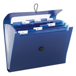 Smead 70902 Navy Blue Step Index Poly Organizer, 12 Pockets (Each Holds up to 50 Sheets), Flap and Cord Closure, Letter