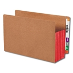 "Smead 74696 Red End Tab Pocket, Reinforced Straight-Cut Tab, 5-1/4"" Expansion, Extra Wide Legal"