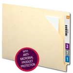 Smead 75715 Manila End Tab File Jacket with Antimicrobial Product Protection, Reinforced Straight-Cut Tab, Flat-No Expansion, Letter