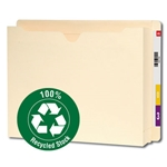 Smead 76510 Manila 100% Recycled End Tab File Jacket, Reinforced Straight-Cut Tab, 2