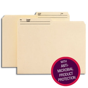 Smead 10377 Manila Reversible File Folder with Antimicrobial Production Protection, 1/2-Cut Printed Tab, Letter