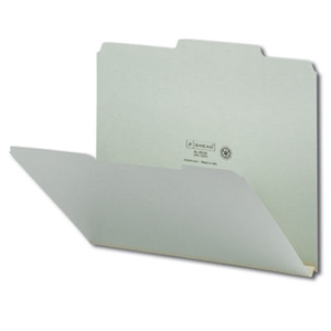"Smead 13275 Gray/Green Pressboard File Folder, 2/5-Cut Tab Right of Center Position, Guide Height, 1"" Expansion, Letter"