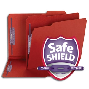 "Smead 14936 Bright Red Pressboard Fastener Folder with SafeSHIELD Fasteners, 2 Fasteners, 1/3-Cut Tab, 2"" Expansion, Letter"
