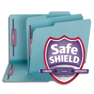 "Smead 14937 Blue Pressboard Fastener Folder with SafeSHIELD Fasteners, 2 Fasteners, 1/3-Cut Tab, 2"" Expansion, Letter"