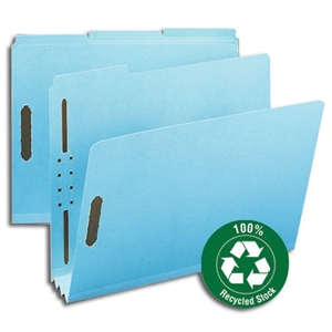 "Smead 15002 Blue 100% Recycled Pressboard Fastener File Folder, 1/3-Cut Tab, 3"" Expansion, Letter"