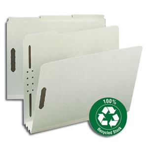 "Smead 15005 Gray/Green 100% Recycled Pressboard Fastener File Folder, 1/3-Cut Tab, 3"" Expansion, Letter"