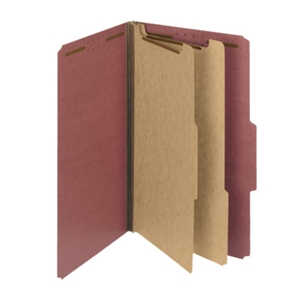 "Smead 19023 Red 100% Recycled Pressboard Classification Folder, 2 Dividers, 2"" Expansion, Legal"