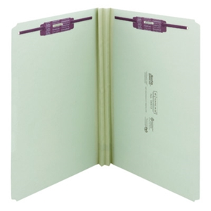 "Smead 19910 Gray/Green Pressboard Fastener File Folder, 2 Fasteners, Straight-Cut Tab, 2"" Expansion, Legal"