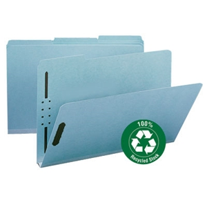 "Smead 20000 Blue 100% Recycled Pressboard Fastener File Folder, 1/3-Cut Tab, 1"" Expansion, Legal"