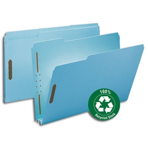 "Smead 20001 Blue 100% Recycled Pressboard Fastener File Folder, 1/3-Cut Tab, 2"" Expansion, Legal"