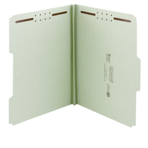 "Smead 20003 Gray/Green 100% Recycled Pressboard Fastener File Folder, 1/3-Cut Tab, 1"" Expansion, Legal"