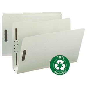 "Smead 20005 Gray/Green 100% Recycled Pressboard Fastener File Folder, 1/3-Cut Tab, 3"" Expansion, Legal"