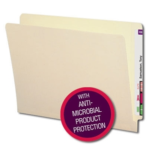 Smead 24113 Manila End Tab File Folder with Antimicrobial Product Protection, Shelf-Master Reinforced Straight-Cut Tab, Letter
