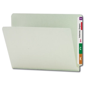 "Smead 26200 Gray/Green End Tab Pressboard File Folder, Straight-Cut Tab, 1"" Expansion, Letter"