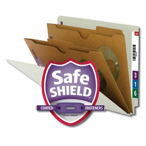 Smead 26710 Gray/Green End Tab Classification File Folder with SafeSHIELD Fasteners, 2 Pocket-Style Dividers, Letter