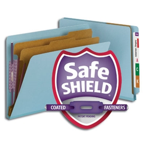 "Smead 26781 Blue End Tab Pressboard Classification Folder with SafeSHIELD Fasteners, 2 Dividers, 2"" Expansion, Letter"