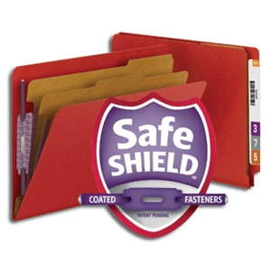 "Smead 26783 Bright Red End Tab Pressboard Classification Folder with SafeSHIELD Fasteners, 2 Dividers, 2"" Expansion, Letter"