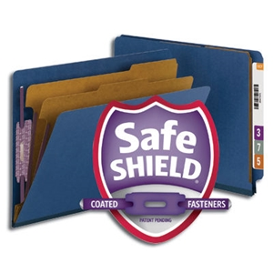 "Smead 26784 Dark Blue End Tab Pressboard Classification Folder with SafeSHIELD Fasteners, 2 Dividers, 2"" Expansion, Letter"