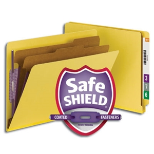 "Smead 26789 Yellow End Tab Pressboard Classification Folder with SafeSHIELD Fasteners, 2 Dividers, 2"" Expansion, Letter"