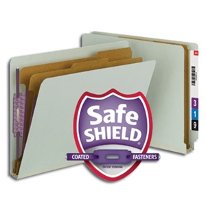 "Smead 26810 Gray/Green End Tab Pressboard Classification Folder with SafeSHIELD Fasteners, 2 Dividers, 2"" Expansion, Letter"