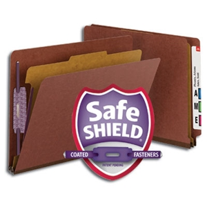 "Smead 26855 Red End Tab Pressboard Classification Folder with SafeSHIELD Fasteners, 1 Divider, 2"" Expansion, Letter"