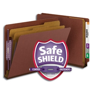 "Smead 26860 Red End Tab Pressboard Classification Folder with SafeSHIELD Fasteners, 2 Dividers, 2"" Expansion, Letter"