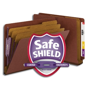 "Smead 26865 Red End Tab Pressboard Classification Folder with SafeSHIELD Fasteners, 3 Dividers, 3"" Expansion, Letter"