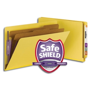 "Smead 29789 Yellow End Tab Pressboard Classification Folder with SafeSHIELD Fasteners, 2 Dividers, 2"" Expansion, Legal"