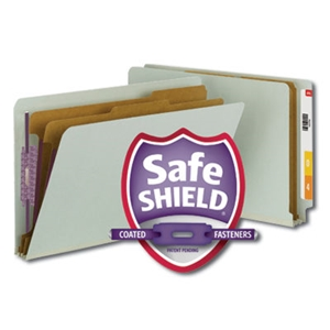 "Smead 29810 Gray/Green End Tab Pressboard Classification Folder with SafeSHIELD Fasteners, 2 Dividers, 2"" Expansion, Legal"