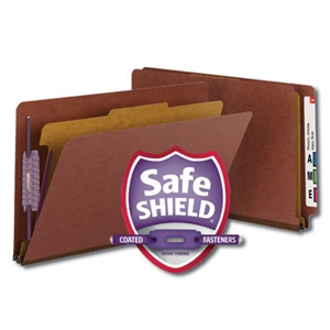 "Smead 29855 Red End Tab Pressboard Classification Folder with SafeSHIELD Fasteners, 1 Divider, 2"" Expansion, Legal"