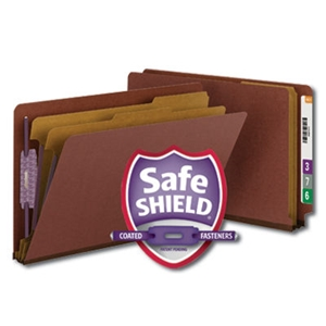 "Smead 29860 Red End Tab Pressboard Classification Folder with SafeSHIELD Fasteners, 2 Dividers, 2"" Expansion, Legal"