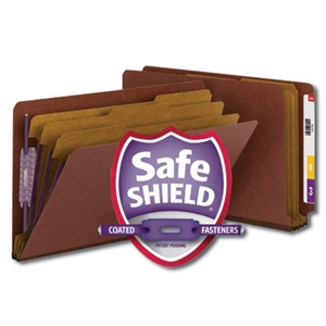 "Smead 29865 Red End Tab Pressboard Classification Folder with SafeSHIELD Fasteners, 3 Dividers, 3"" Expansion, Legal"