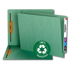 Smead 34172 Green 100% Recycled End Tab Fastener File Folder, Shelf-Master Reinforced Straight-Cut Tab, 2 Fasteners, Letter
