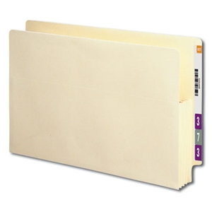 "Smead 76124 Manila End Tab File Pocket, Reinforced Straight-Cut Tab, 3-1/2"" Expansion Gusset, Legal"