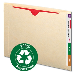 Smead 76530 Manila 100% Recycled End Tab File Jacket, Reinforced Straight-Cut Tab, Flat-No Expansion, Letter